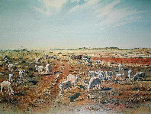 Sheep farm landscape painting