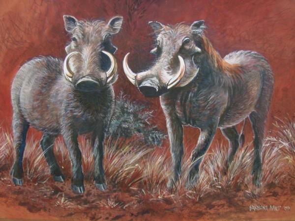 Painting. warthogs.