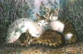 Lavender & Cats painting