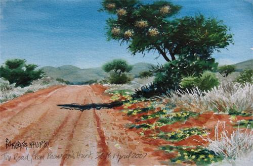 Painting of Kalahari Road & Weaver Nests