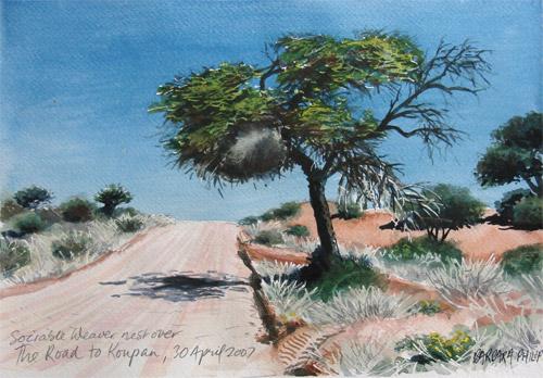 painting of Kalahari road. Koupan.