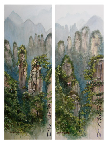 Paintings of the Mountains of Zhangjiajie. China.