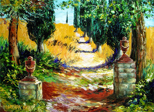 Cypress Path. Italy. Oil painting.