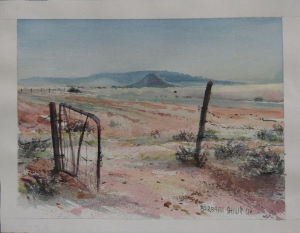 Painting of gate & ploughed land