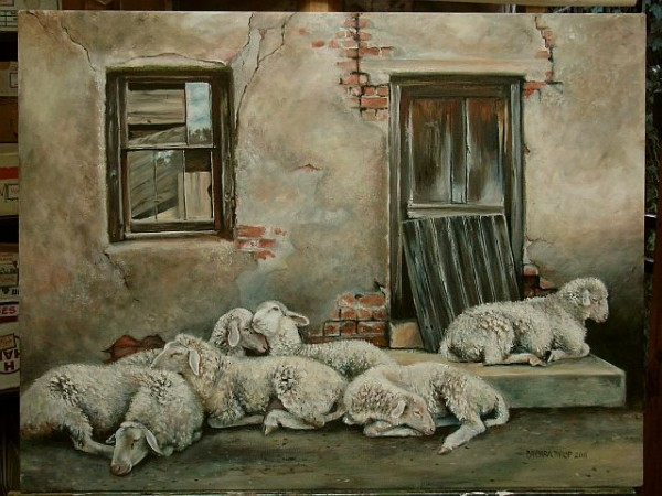 'Sheep resting',- oil painting.