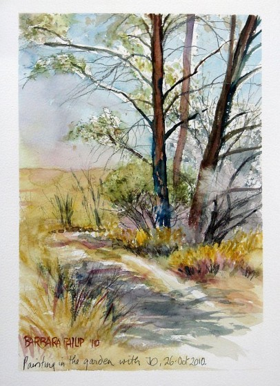 Painting of road and trees