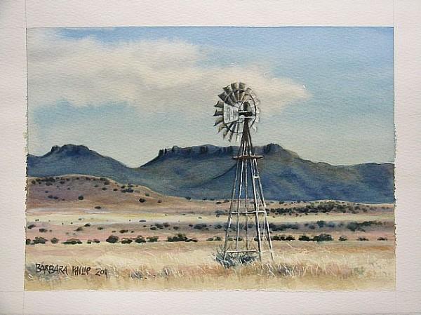 Karoo hills & windmill.