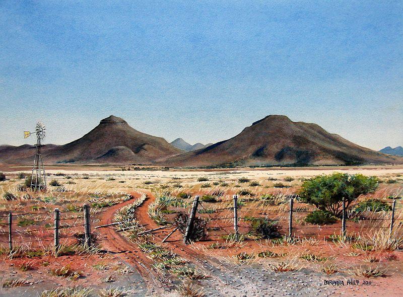 Karoo Farm Road 187 Barbara Philip African Painting
