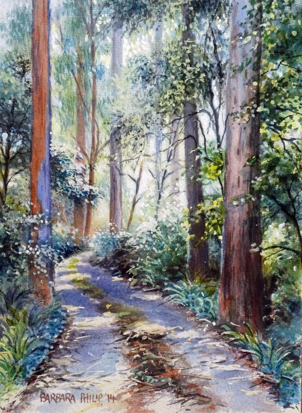 Hogsback Forest, watercolour painting.