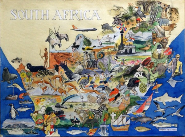 Map of South Africa. Illustrated. 1986