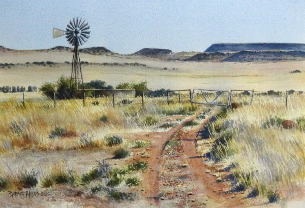 Karoo farm view with windmill