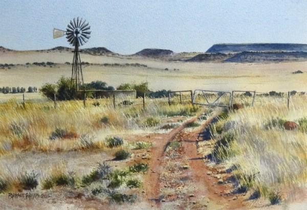 Karoo farm view with windmill