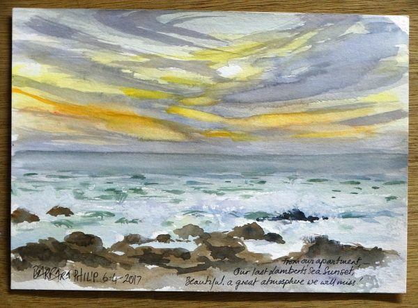Sunset over the sea sketch. Lambert's Bay