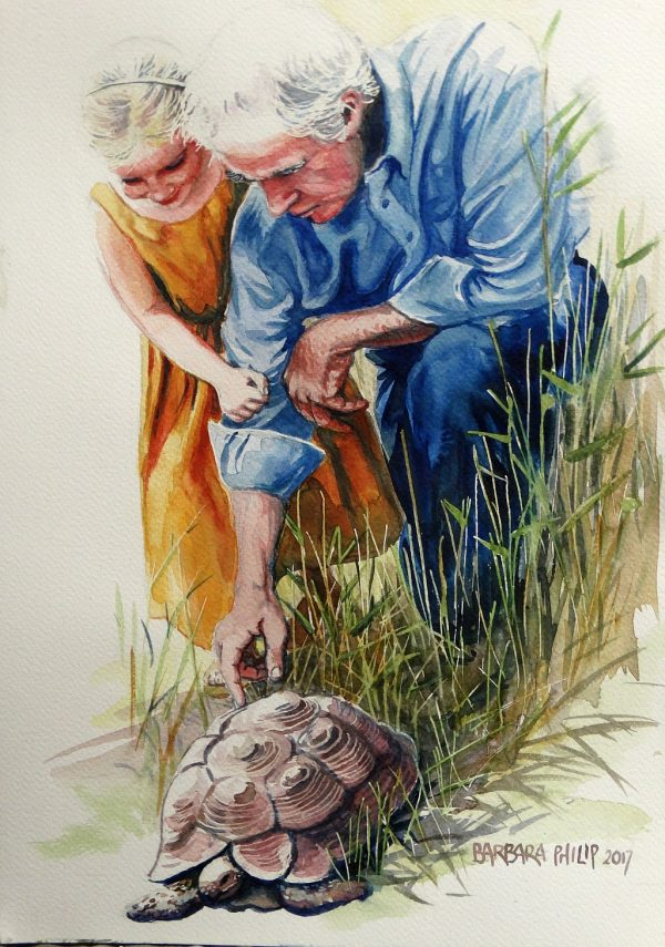 The tortoise with Grandpa and Chloë.