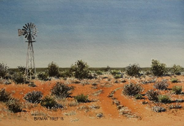 Windmill in Kalahari veld
