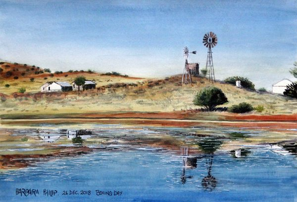 Across the dam, view of the farmyard, Silvermere