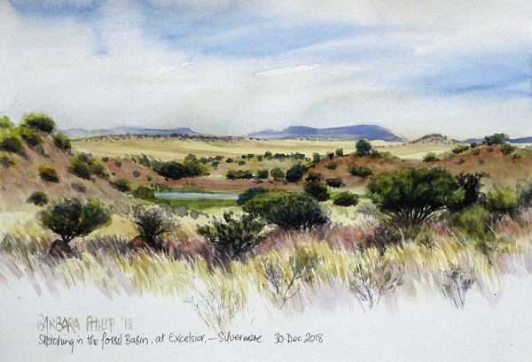 Plein-air, view of Fossil Basin, Silvermere