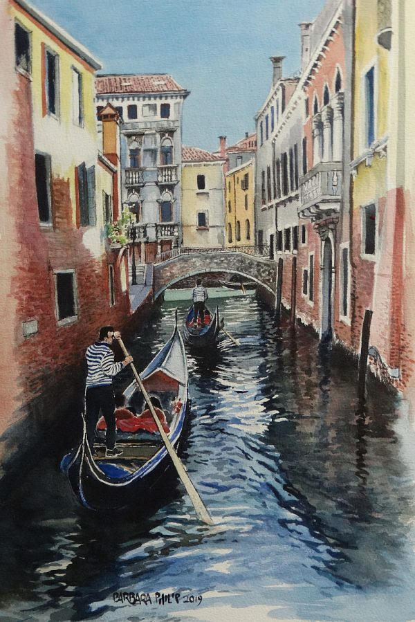 Gondolas on a Venitian canal. italy.