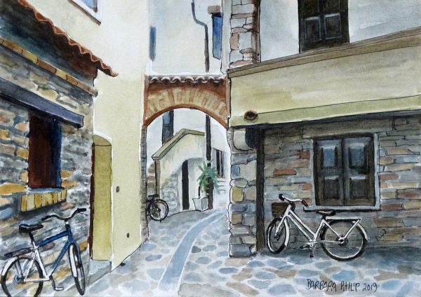 Grado Alley with Bicycles. Italy