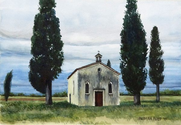 Chapel and Cypresses, Udine, Italy.