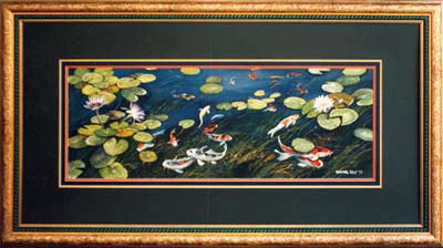 Lily pond & Koi painting