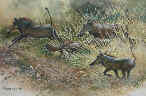 painting - Warthogs running,