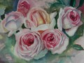 pink roses. painting