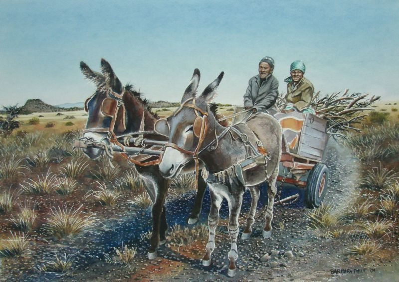 Solomon's Donkey Cart » Barbara Philip - African Painting