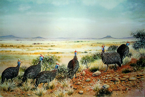 Guinea fowl painting