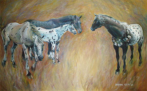 Appaloosa horses oil painitng