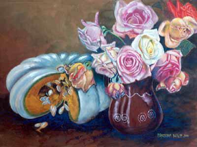 painting of Pumpkin & Roses