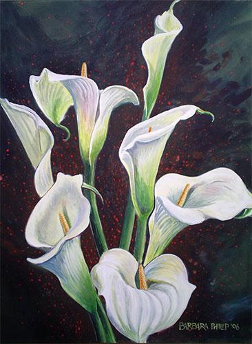 Arum Lilies painting