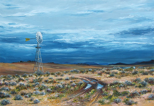 Oil painting of the Karoo. South Africa
