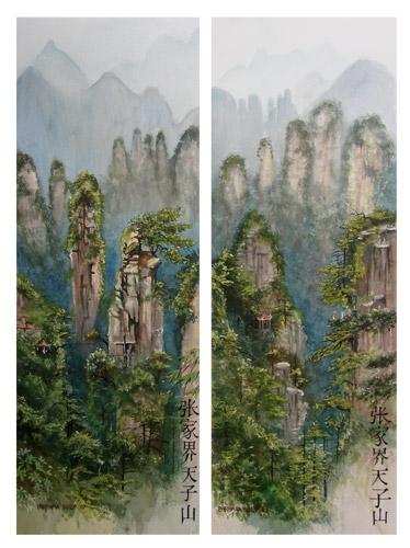 Paintings of the Mountains of Zhangjiajie. China.