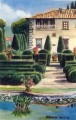 Painting of Villa Gamberaia. Italy