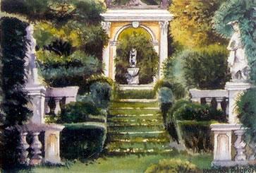 painting of 'Villa La Pietra', Italy
