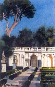 Painting of 'Villa Medici'. Italy.