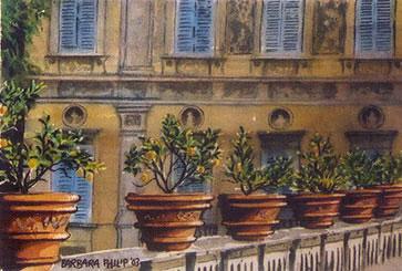Painting of 'Villa Pamphili', Italy.