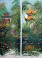 Paintings of Pavillions & Koi of Changsha, China