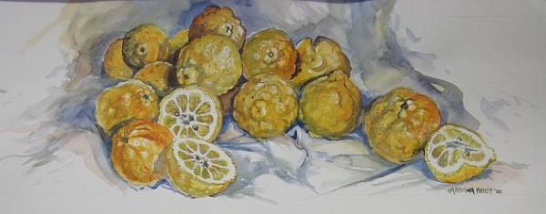 Still life painting of Lemons