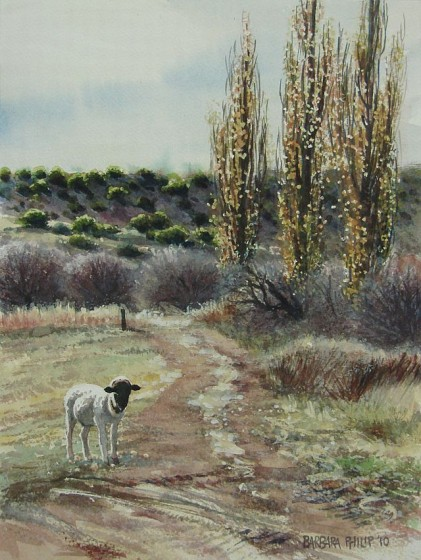 Farm painting with lamb