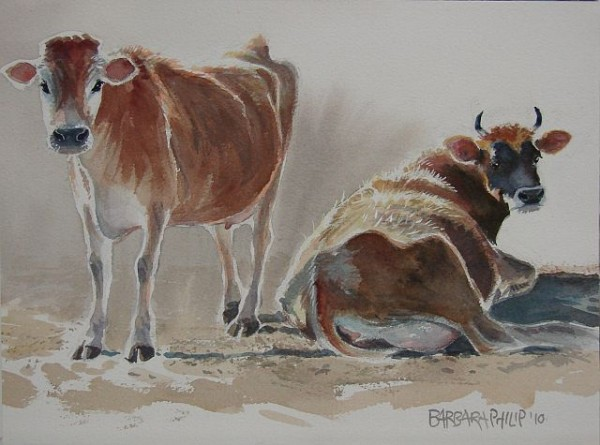 Painting of Jersey cows