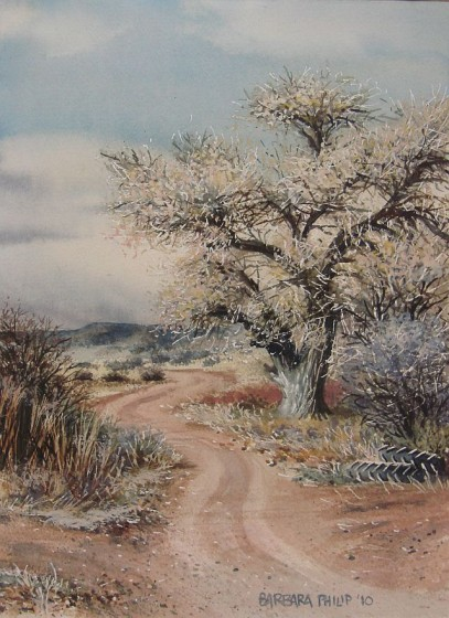 painting of road and tree