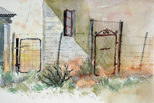 painting of wall and gates