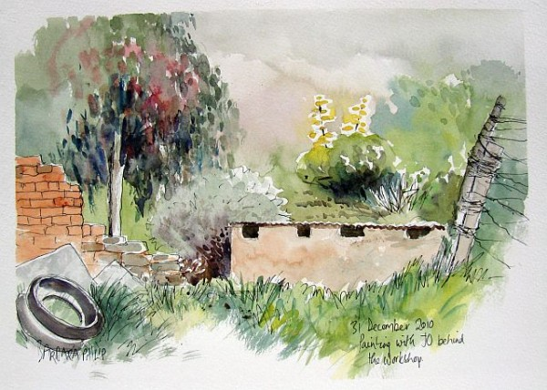 Painting in the farmyard