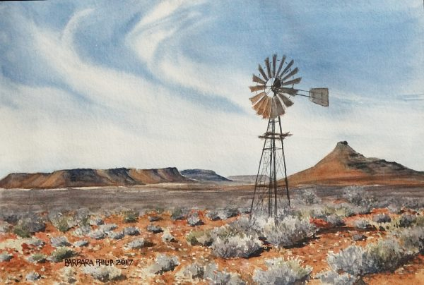 Windmill and dry karoo, near Canarvon.