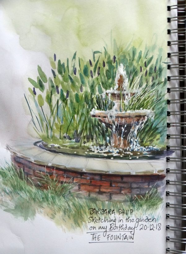 Garden pond and fountain.