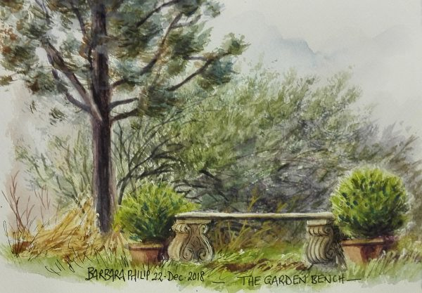 Bench at the end of the garden